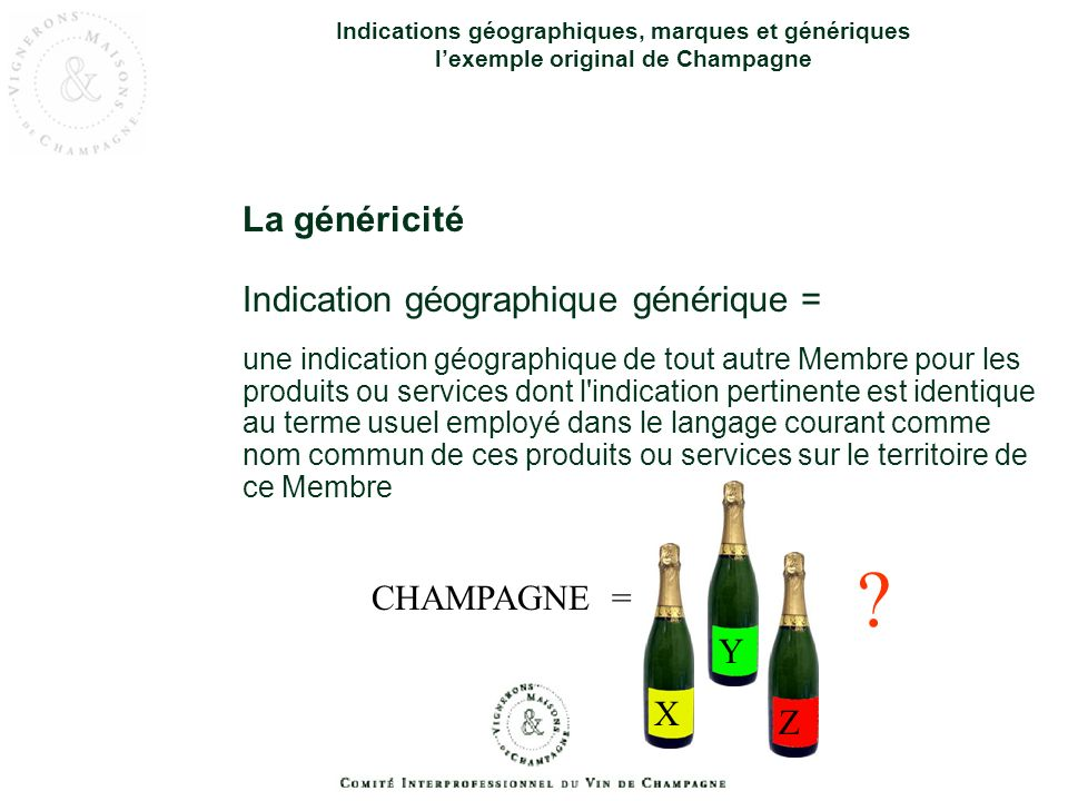 La généricité Indication géographique générique = CHAMPAGNE = Y X Z