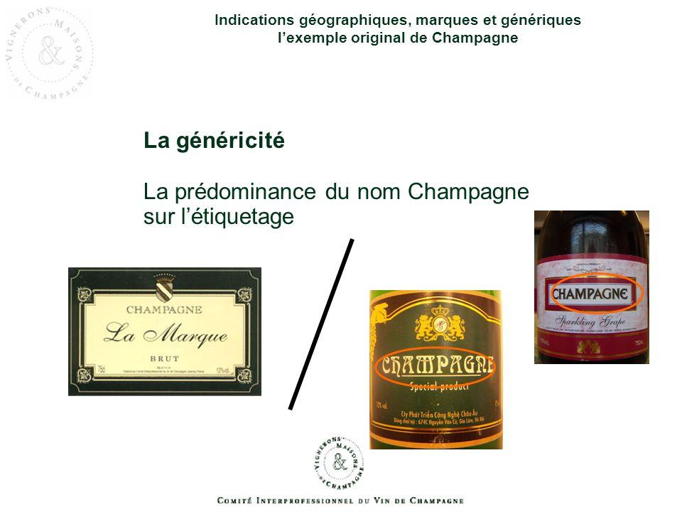 La prédominance du nom Champagne sur l'étiquetage