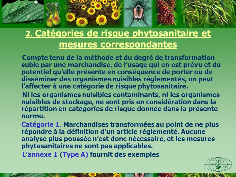 2. Catégories de risque phytosanitaire et mesures correspondantes