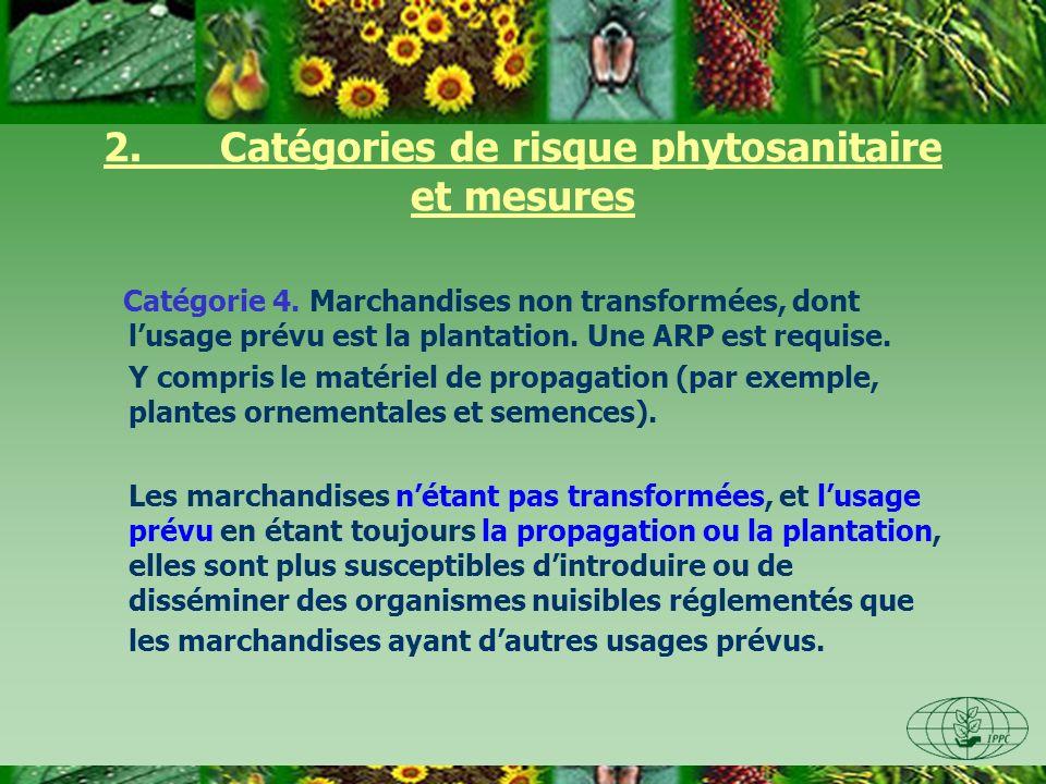 2. Catégories de risque phytosanitaire et mesures