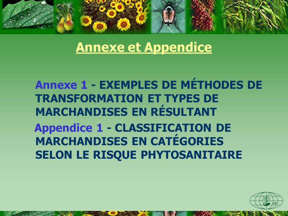 Annexe et Appendice Annexe 1 - EXEMPLES DE MÉTHODES DE TRANSFORMATION ET TYPES DE MARCHANDISES EN RÉSULTANT.