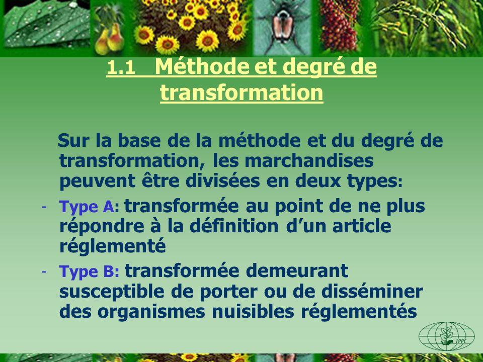 1.1 Méthode et degré de transformation