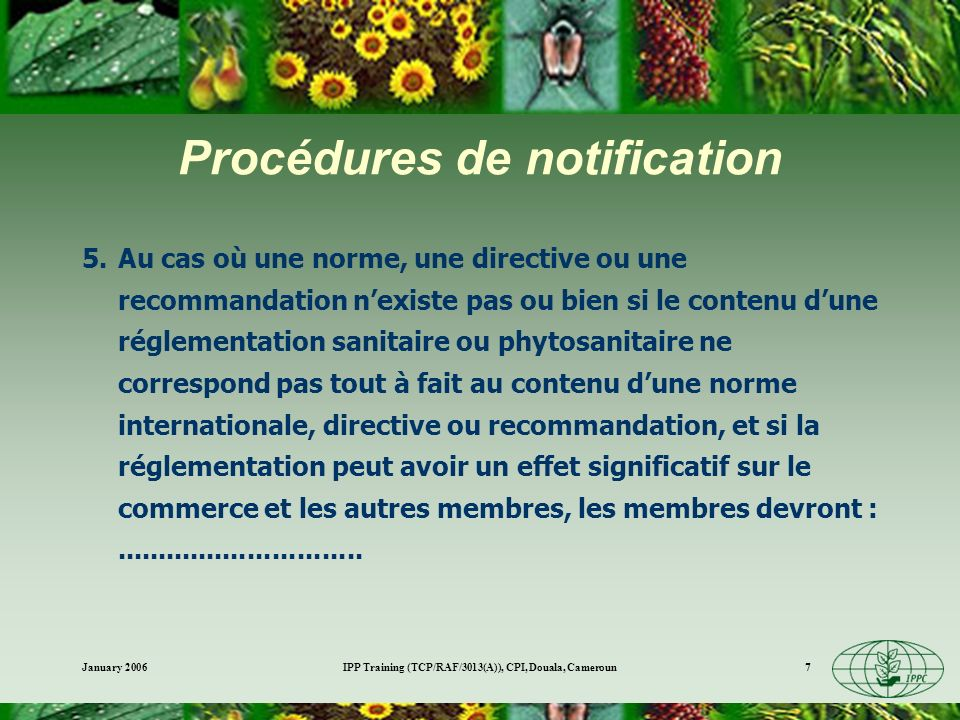 Procédures de notification