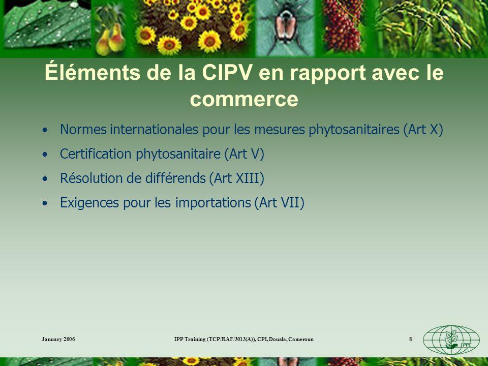 Éléments de la CIPV en rapport avec le commerce