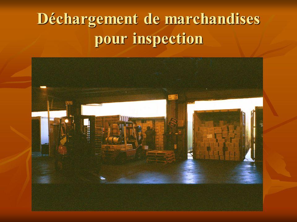 Déchargement de marchandises pour inspection