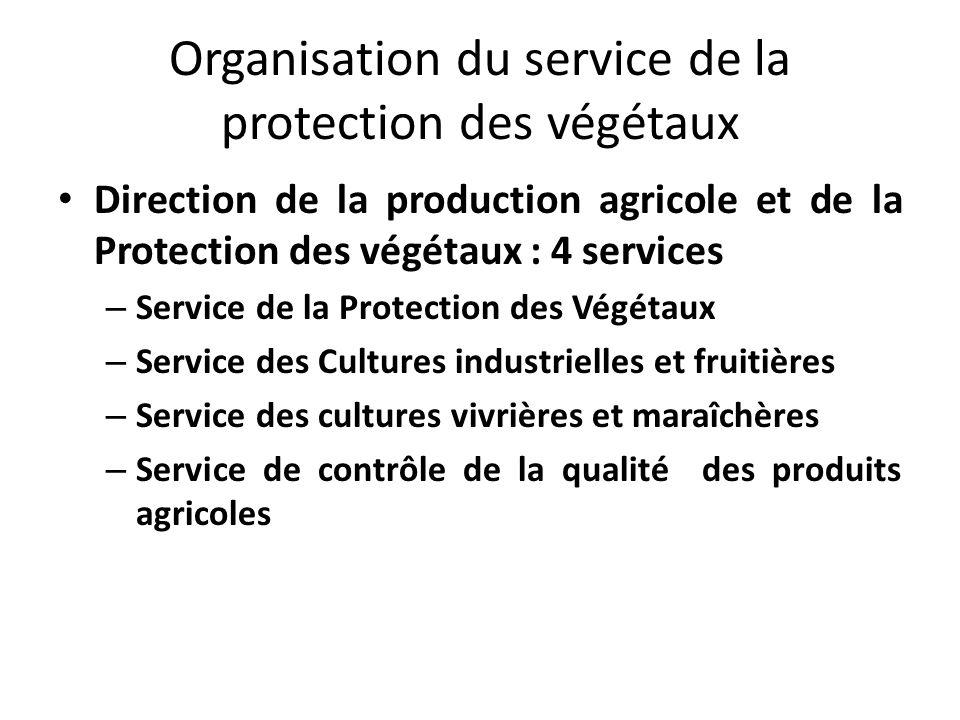 Organisation du service de la protection des végétaux