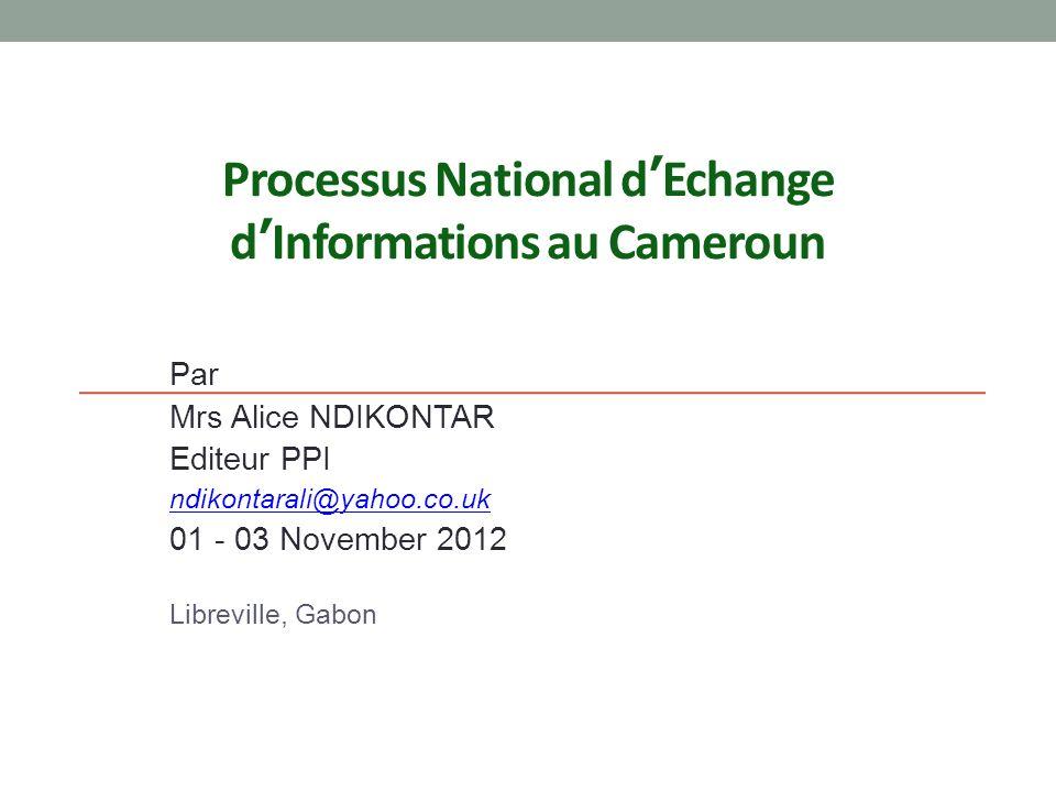 Processus National d'Echange d'Informations au Cameroun