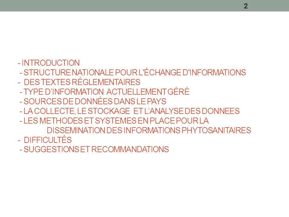 - INTRODUCTION - STRUCTURE NATIONALE POUR L ÉCHANGE D INFORMATIONS - DES TEXTES RÉGLEMENTAIRES - TYPE D'INFORMATION ACTUELLEMENT GÉRÉ - SOURCES DE DONNÉES DANS LE PAYS - LA COLLECTE, LE STOCKAGE ET L'ANALYSE DES DONNEES - LES METHODES ET SYSTEMES EN PLACE POUR LA DISSEMINATION DES INFORMATIONS PHYTOSANITAIRES - DIFFICULTÉS - SUGGESTIONS ET RECOMMANDATIONS