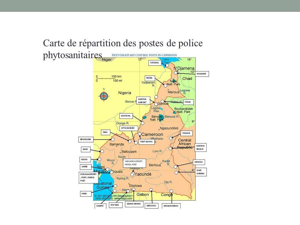 Carte de répartition des postes de police phytosanitaires