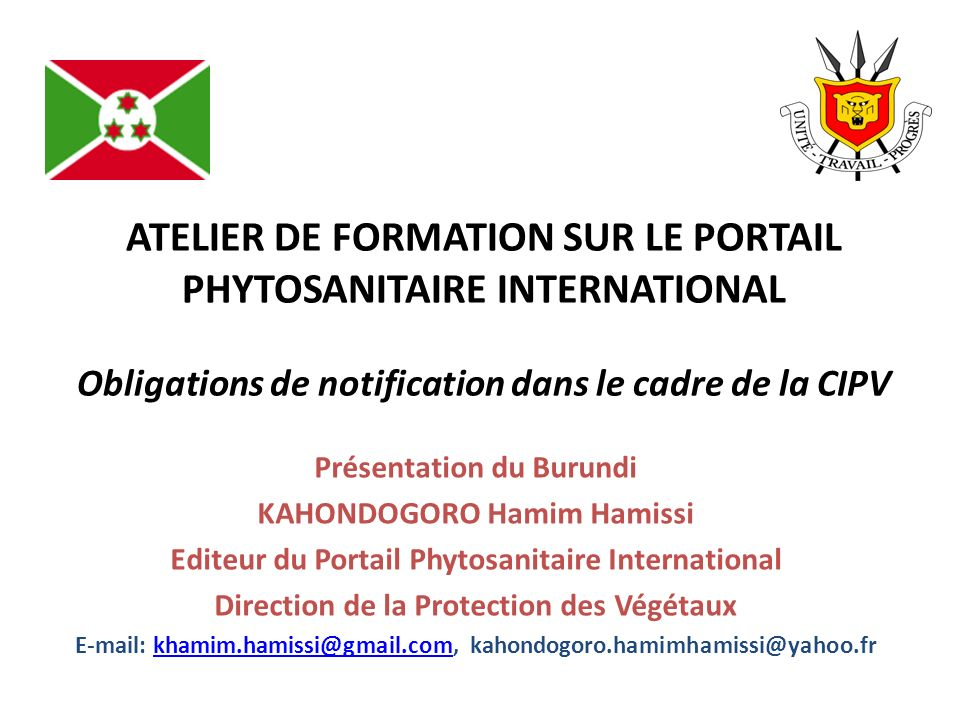 Présentation du Burundi KAHONDOGORO Hamim Hamissi
