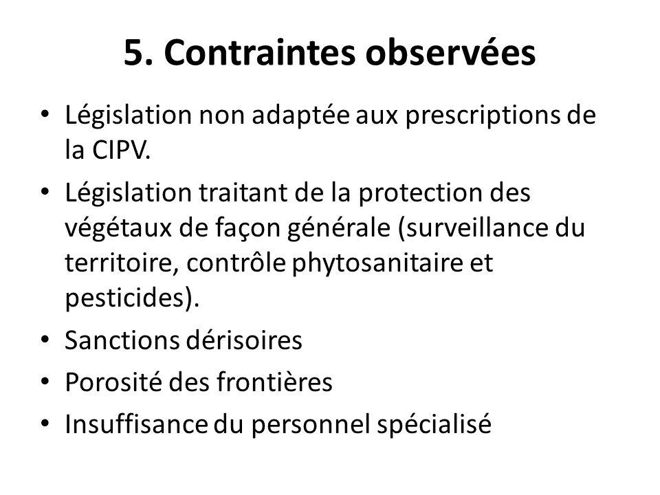 5. Contraintes observées