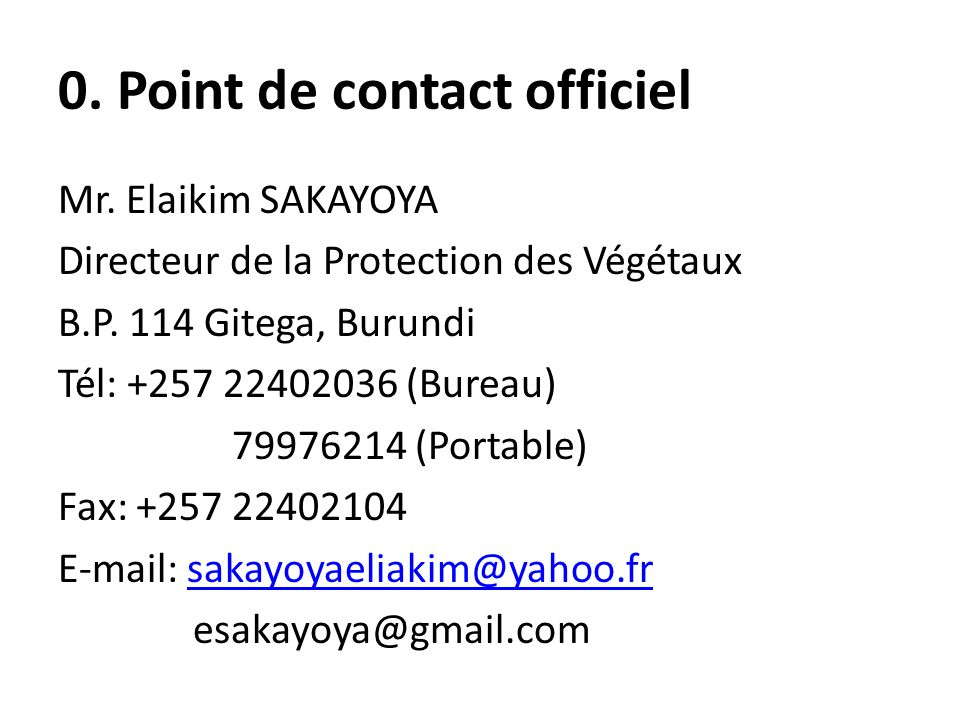 0. Point de contact officiel