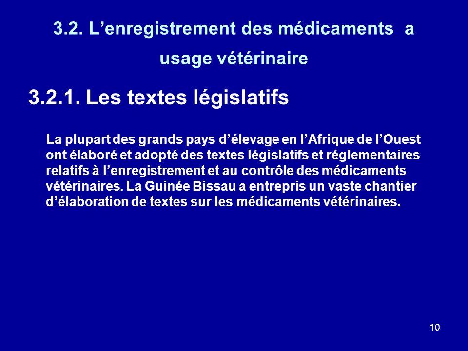 3.2. L'enregistrement des médicaments a usage vétérinaire