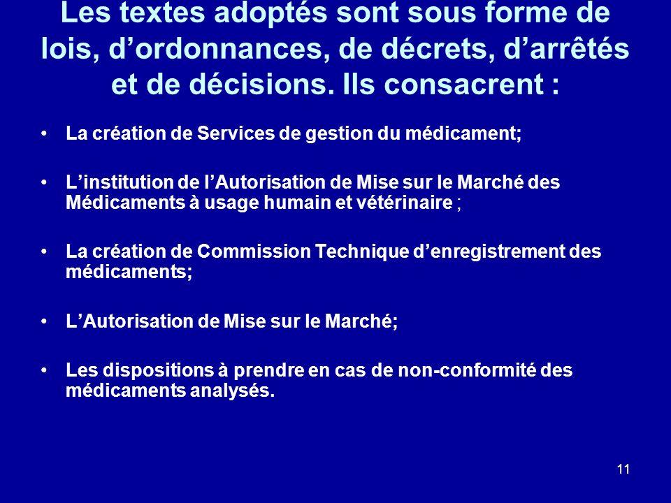 Les textes adoptés sont sous forme de lois, d'ordonnances, de décrets, d'arrêtés et de décisions. Ils consacrent :