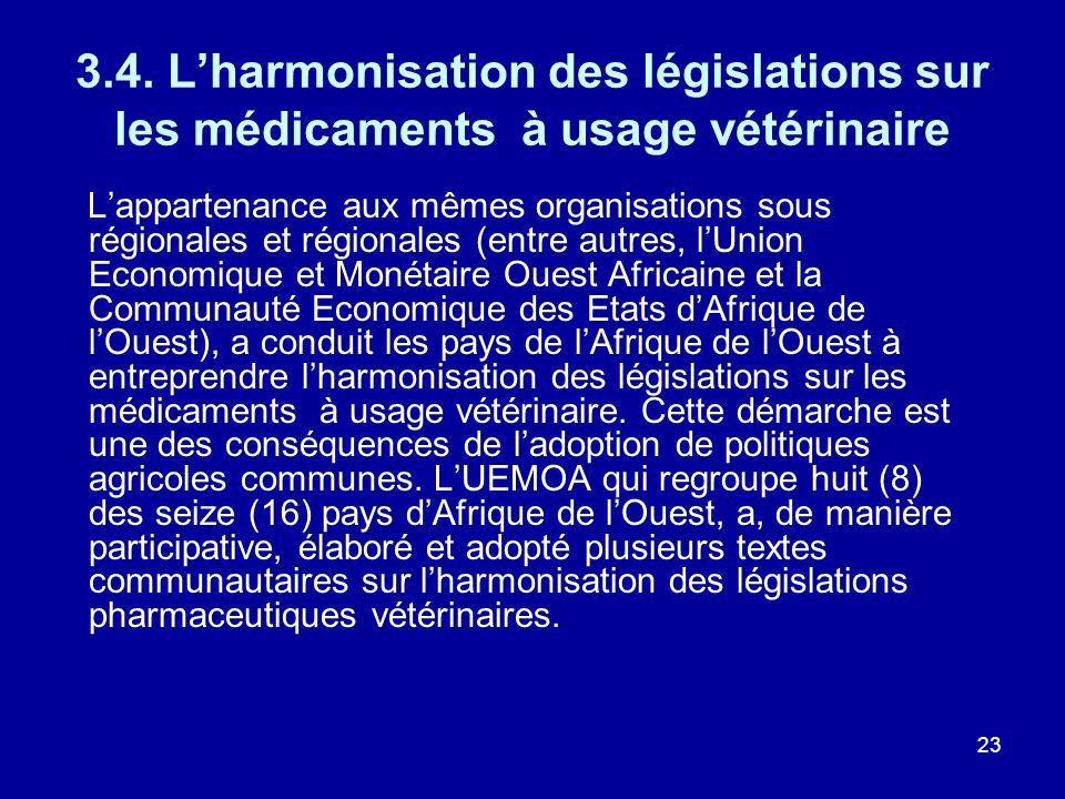 3.4. L'harmonisation des législations sur les médicaments à usage vétérinaire