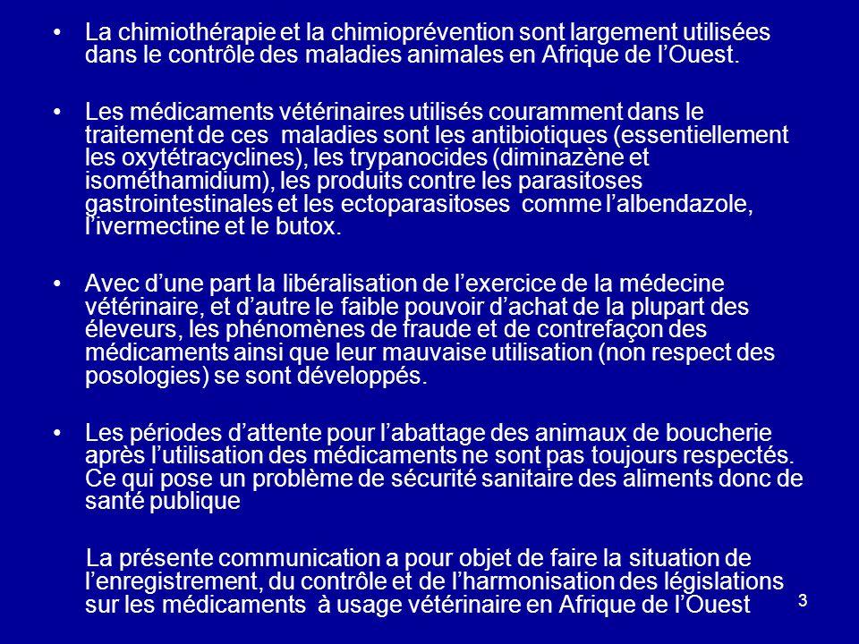 La chimiothérapie et la chimioprévention sont largement utilisées dans le contrôle des maladies animales en Afrique de l'Ouest.