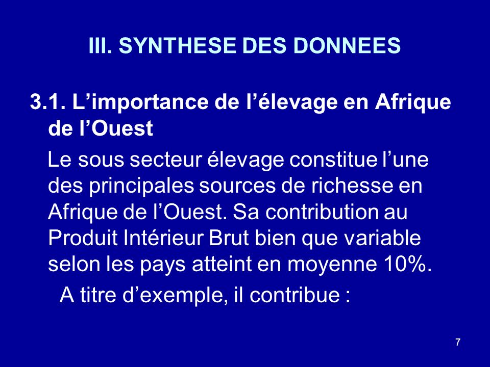 III. SYNTHESE DES DONNEES