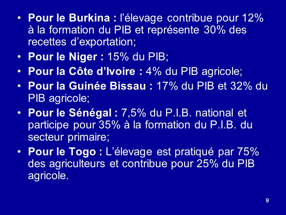 Pour le Burkina : l'élevage contribue pour 12% à la formation du PIB et représente 30% des recettes d'exportation;