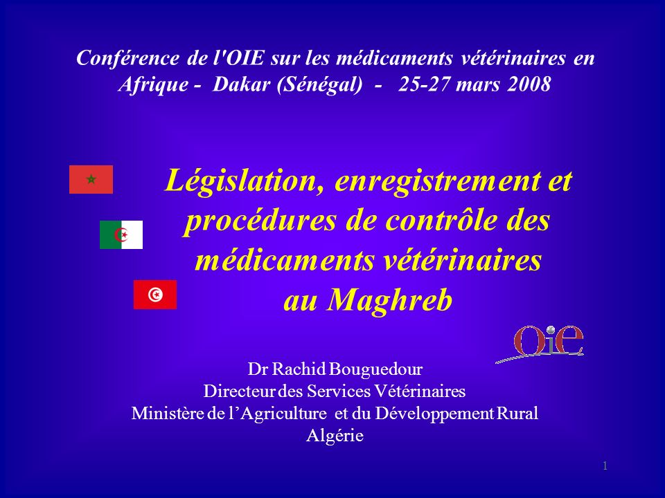 Législation, enregistrement et procédures de contrôle des