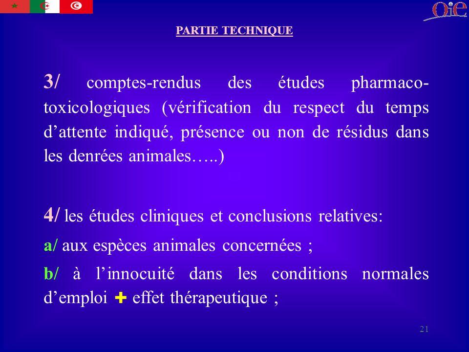 4/ les études cliniques et conclusions relatives: