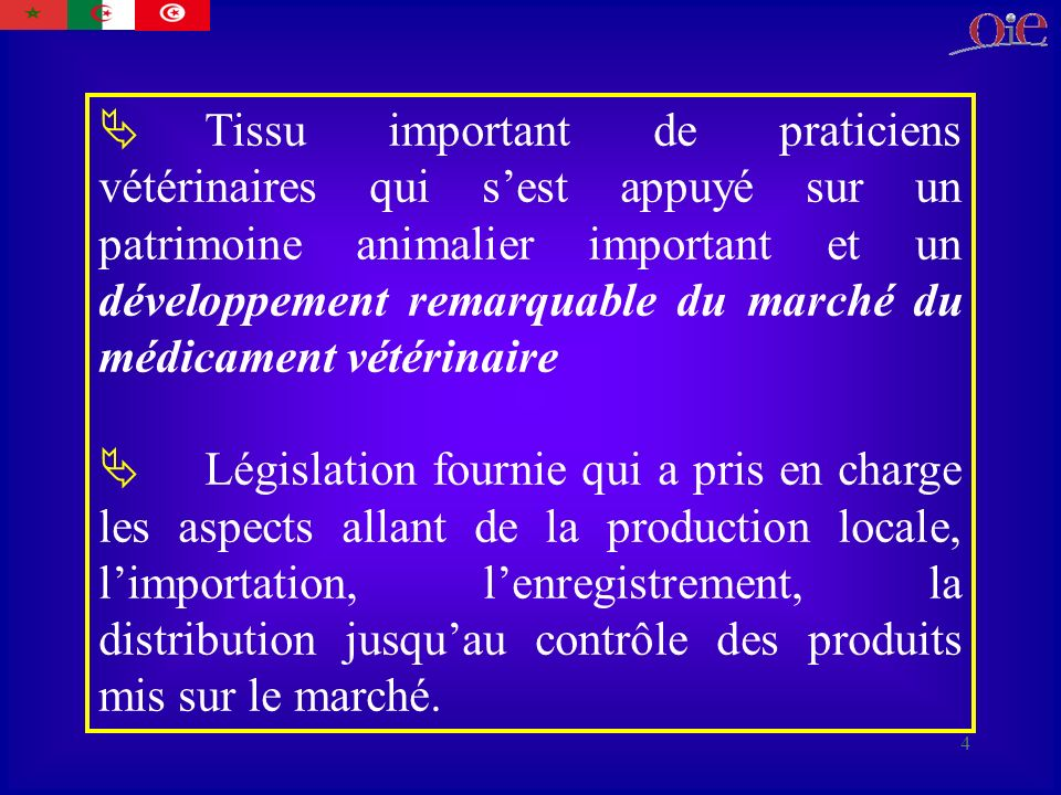 Tissu important de praticiens vétérinaires qui s'est appuyé sur un patrimoine animalier important et un développement remarquable du marché du médicament vétérinaire