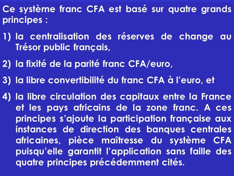 Ce système franc CFA est basé sur quatre grands principes :