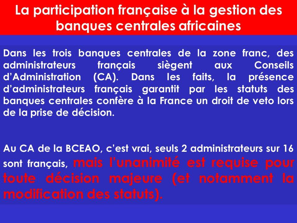 La participation française à la gestion des banques centrales africaines