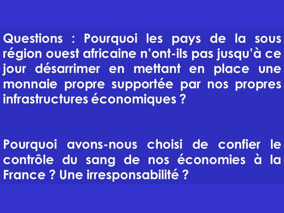Questions : Pourquoi les pays de la sous région ouest africaine n'ont-ils pas jusqu'à ce jour désarrimer en mettant en place une monnaie propre supportée par nos propres infrastructures économiques