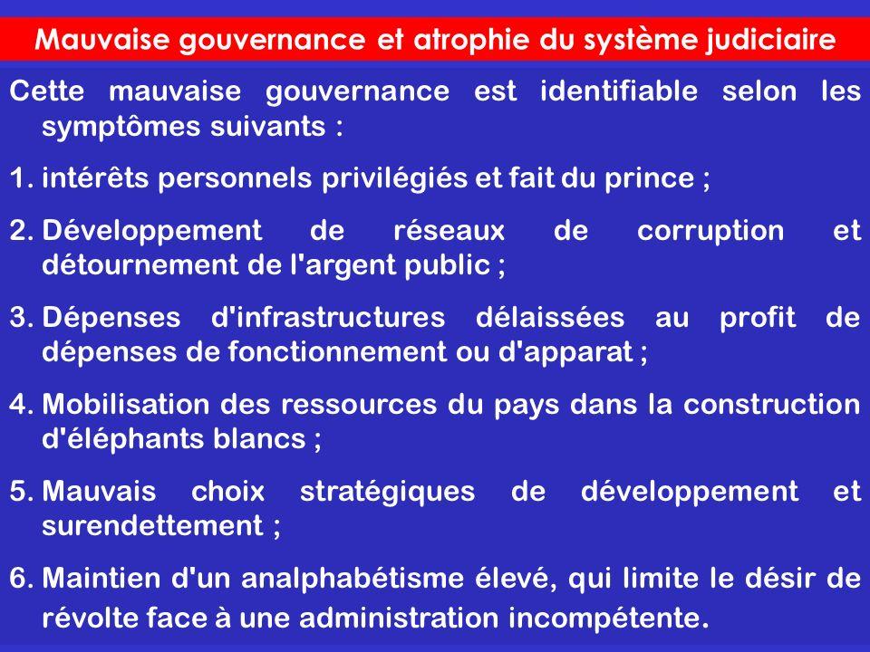 Mauvaise gouvernance et atrophie du système judiciaire