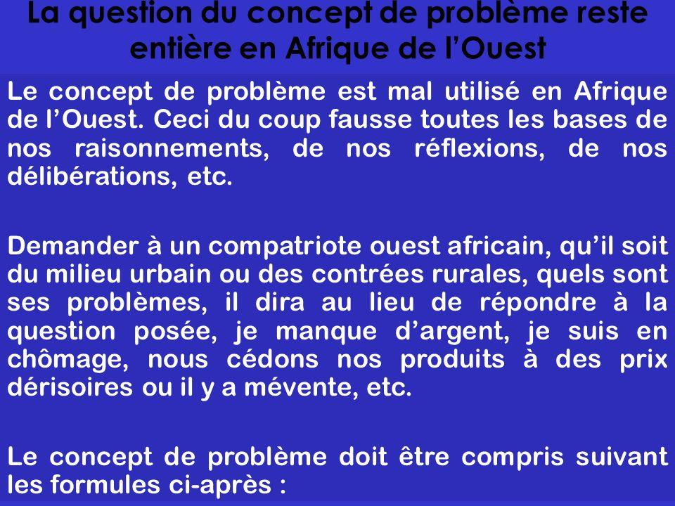 La question du concept de problème reste entière en Afrique de l'Ouest