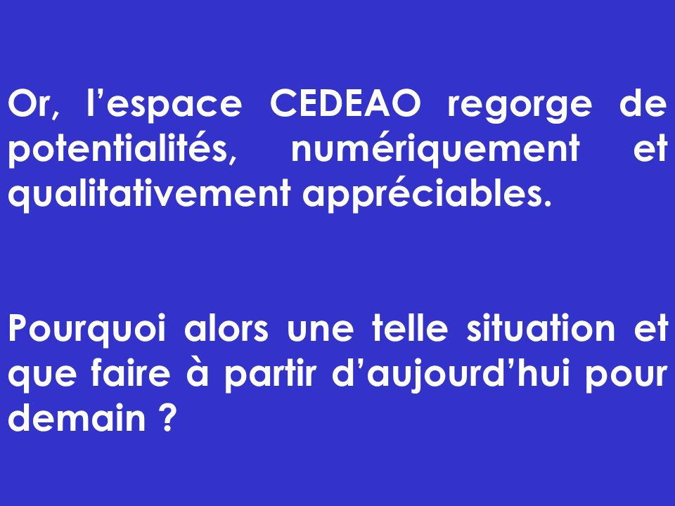 Or, l'espace CEDEAO regorge de potentialités, numériquement et qualitativement appréciables.