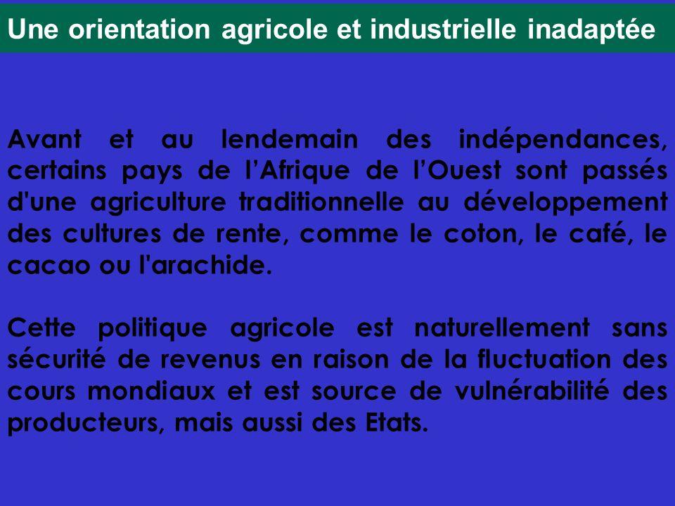 Une orientation agricole et industrielle inadaptée