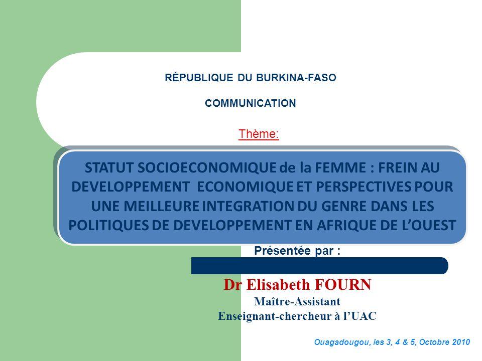 RÉPUBLIQUE DU BURKINA-FASO Enseignant-chercheur à l'UAC