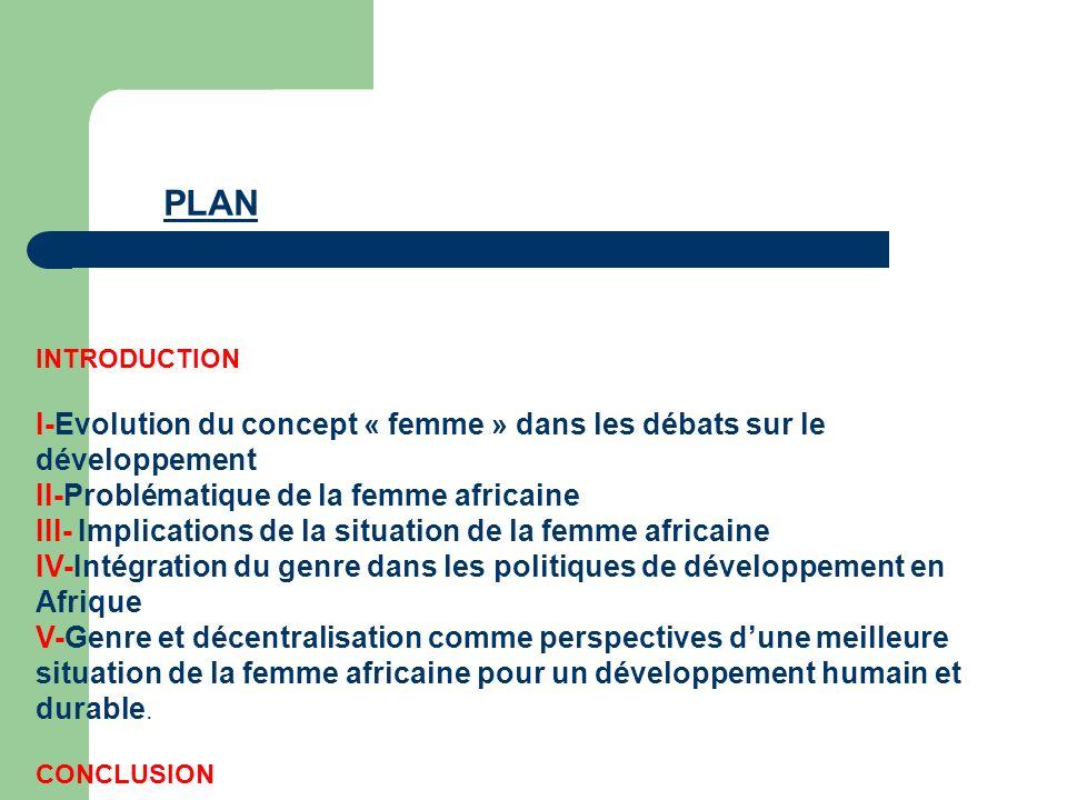 PLAN INTRODUCTION. I-Evolution du concept « femme » dans les débats sur le développement II-Problématique de la femme africaine.