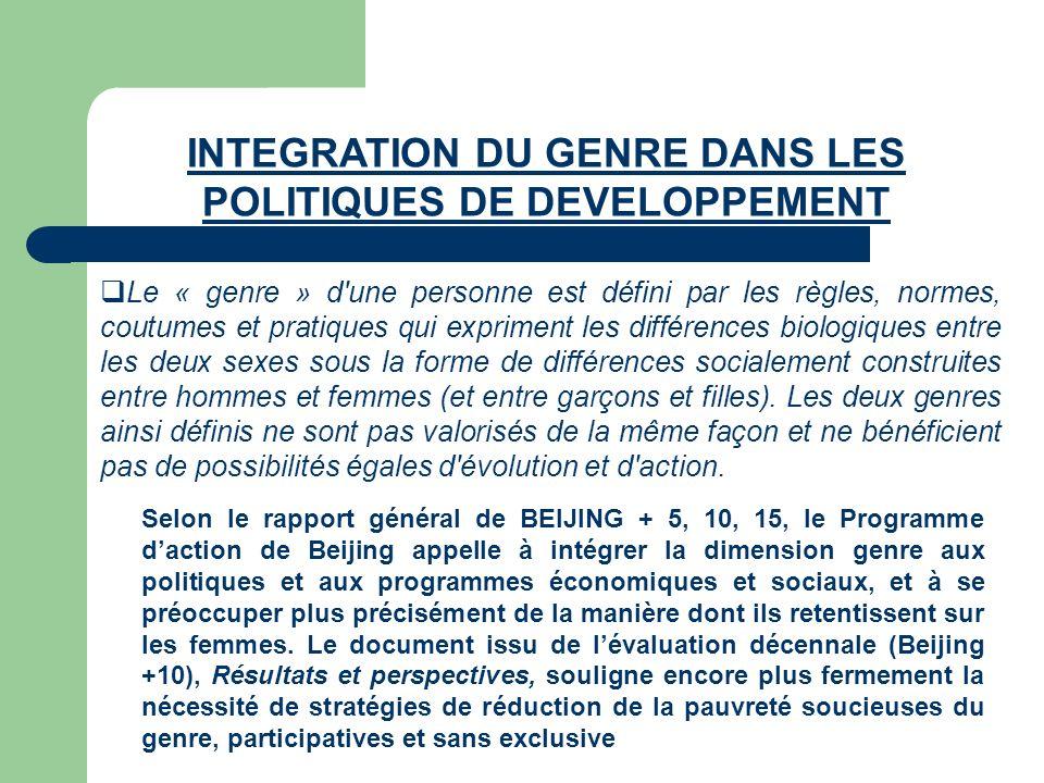 INTEGRATION DU GENRE DANS LES POLITIQUES DE DEVELOPPEMENT