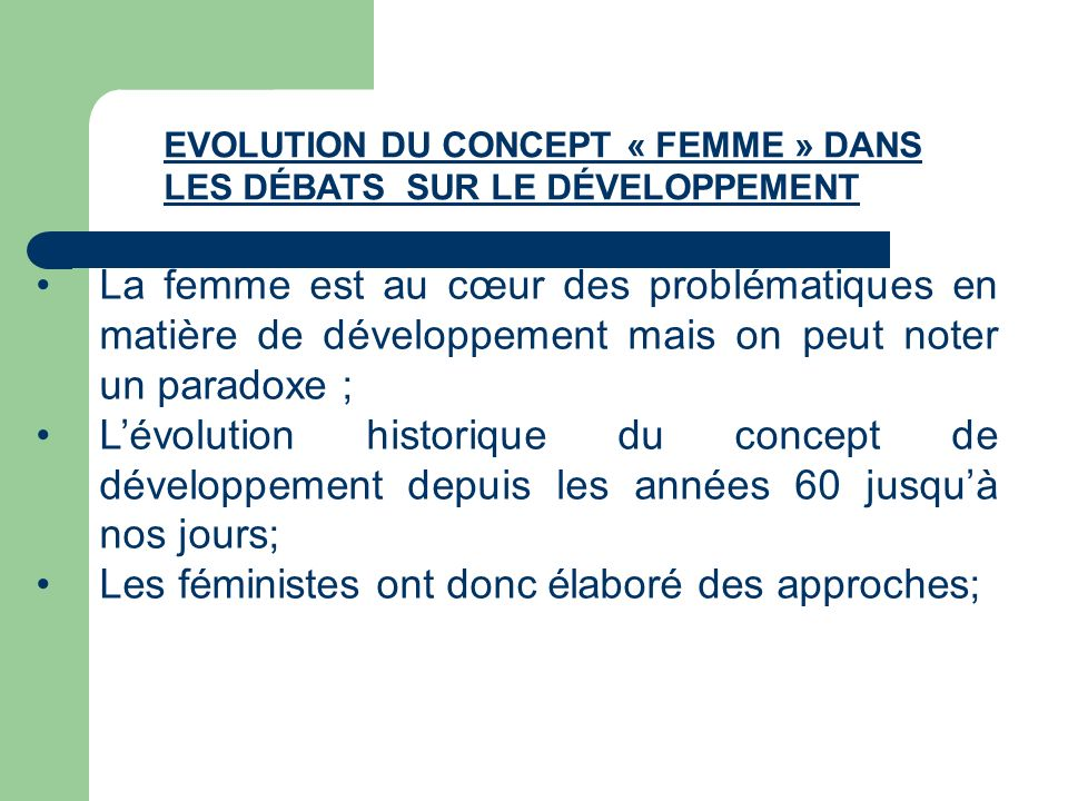 Les féministes ont donc élaboré des approches;