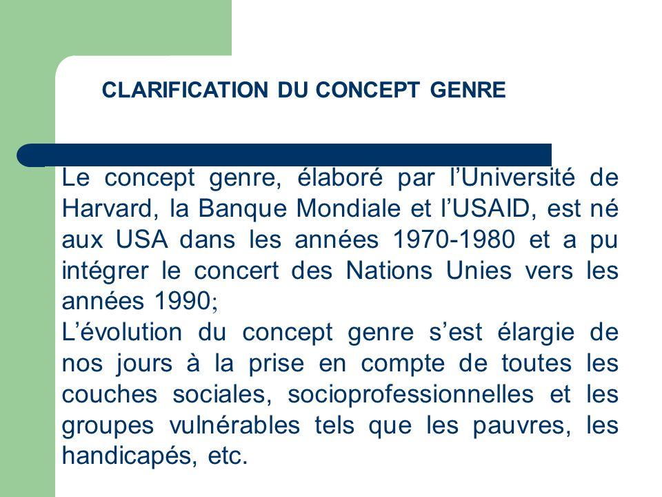 CLARIFICATION DU CONCEPT GENRE