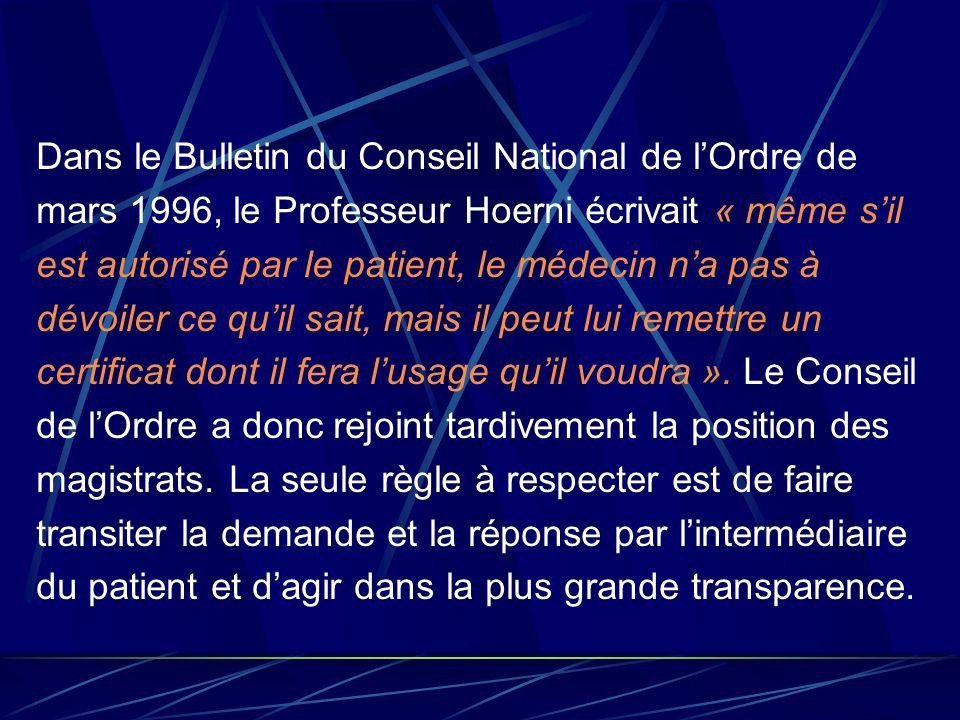 Dans le Bulletin du Conseil National de l'Ordre de