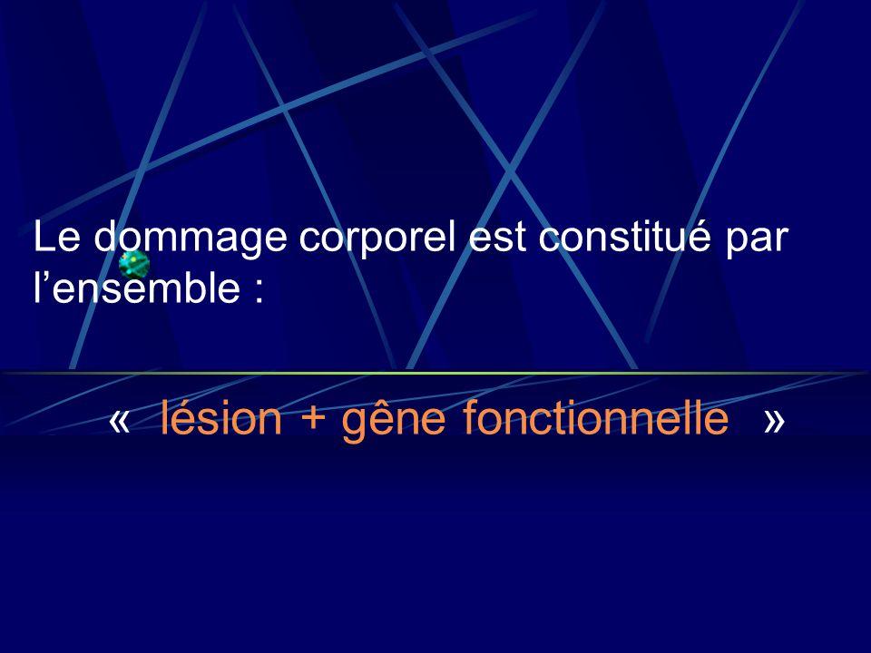 « lésion + gêne fonctionnelle »