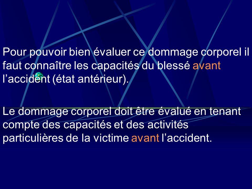 Pour pouvoir bien évaluer ce dommage corporel il faut connaître les capacités du blessé avant l'accident (état antérieur).