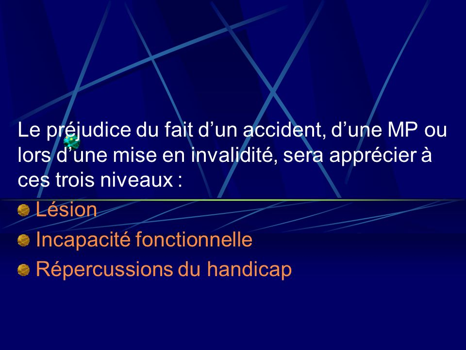 Le préjudice du fait d'un accident, d'une MP ou lors d'une mise en invalidité, sera apprécier à ces trois niveaux :