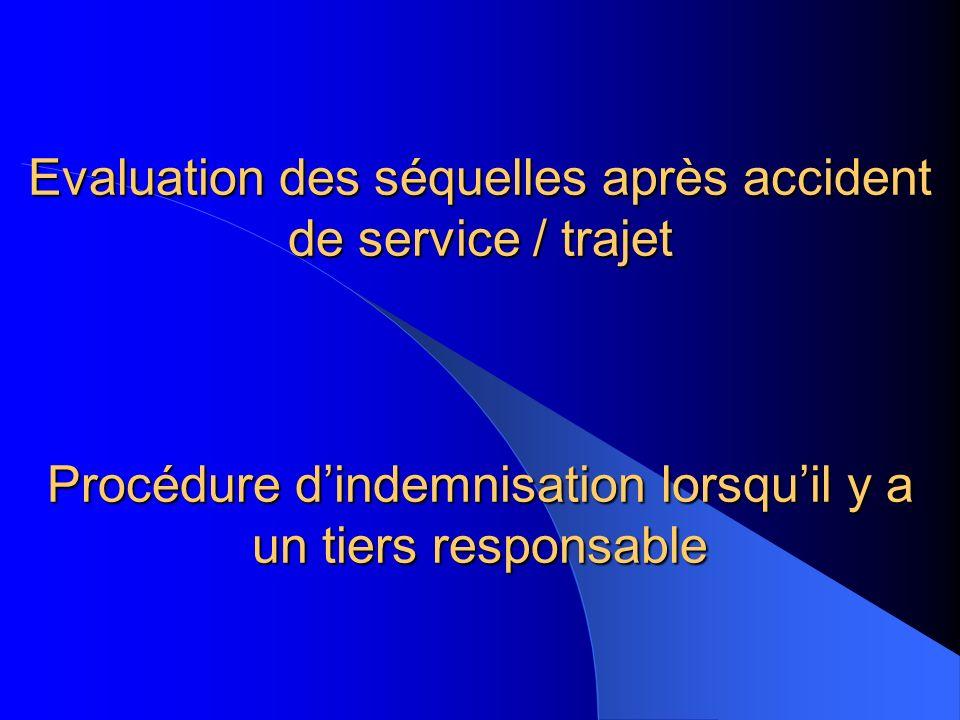 Evaluation des séquelles après accident de service / trajet Procédure d'indemnisation lorsqu'il y a un tiers responsable