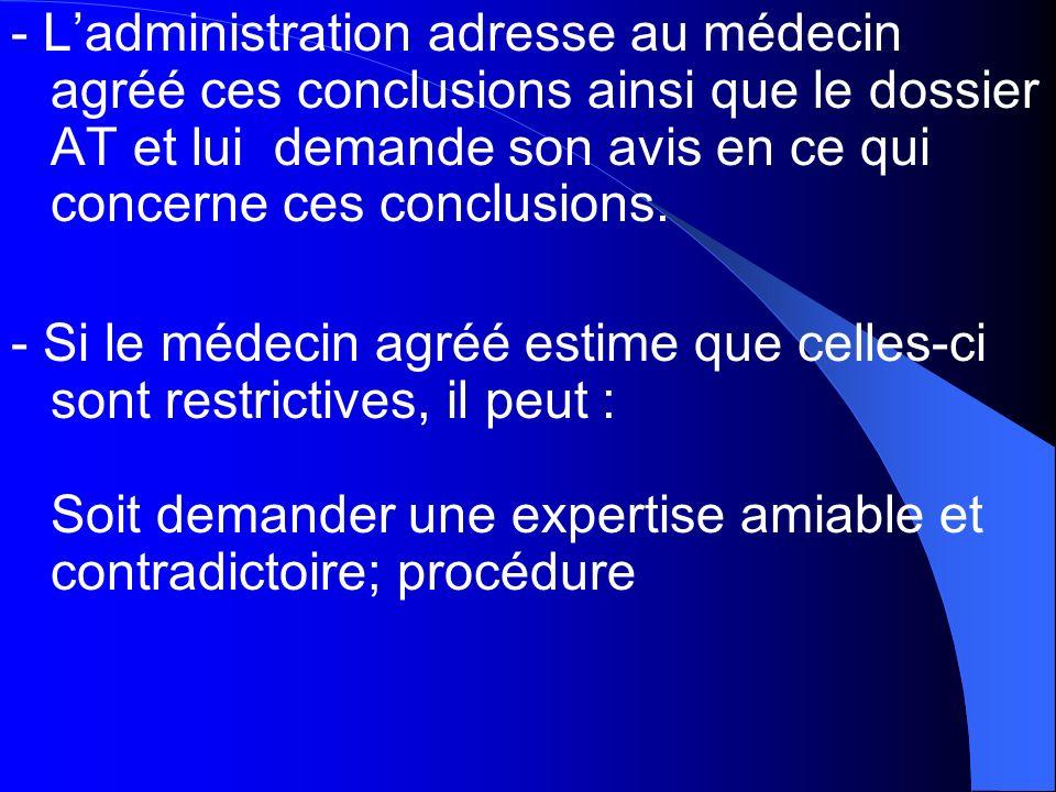 - L'administration adresse au médecin agréé ces conclusions ainsi que le dossier AT et lui demande son avis en ce qui concerne ces conclusions.