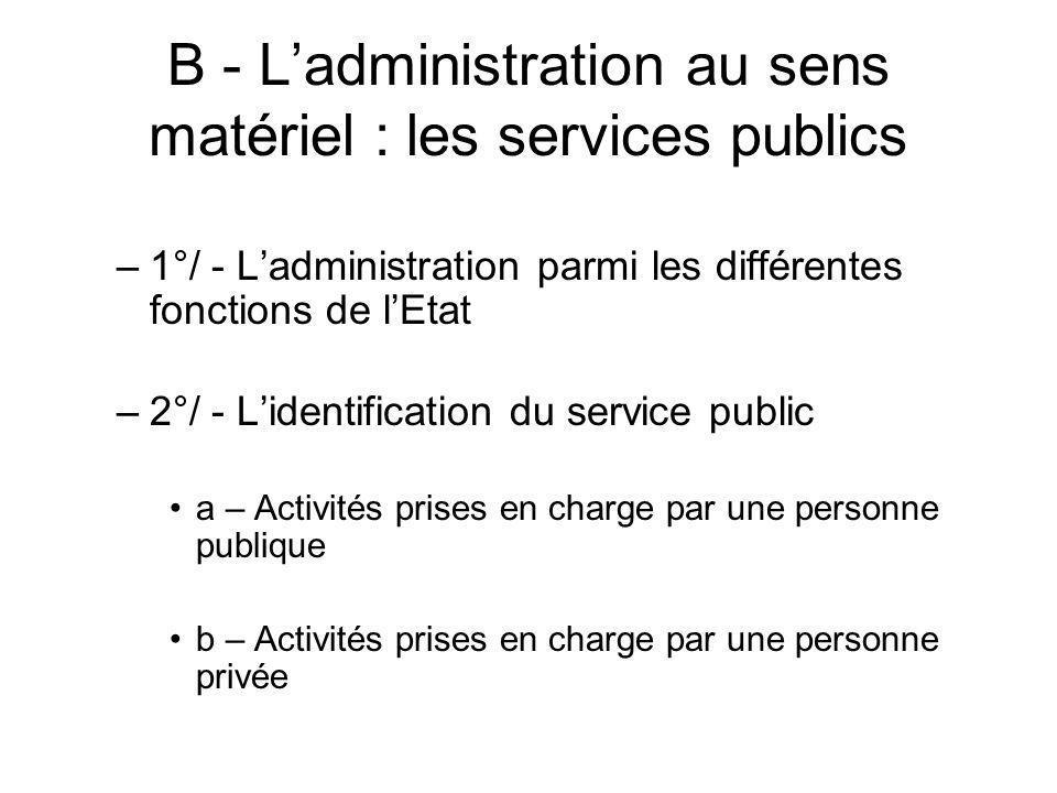 B - L'administration au sens matériel : les services publics