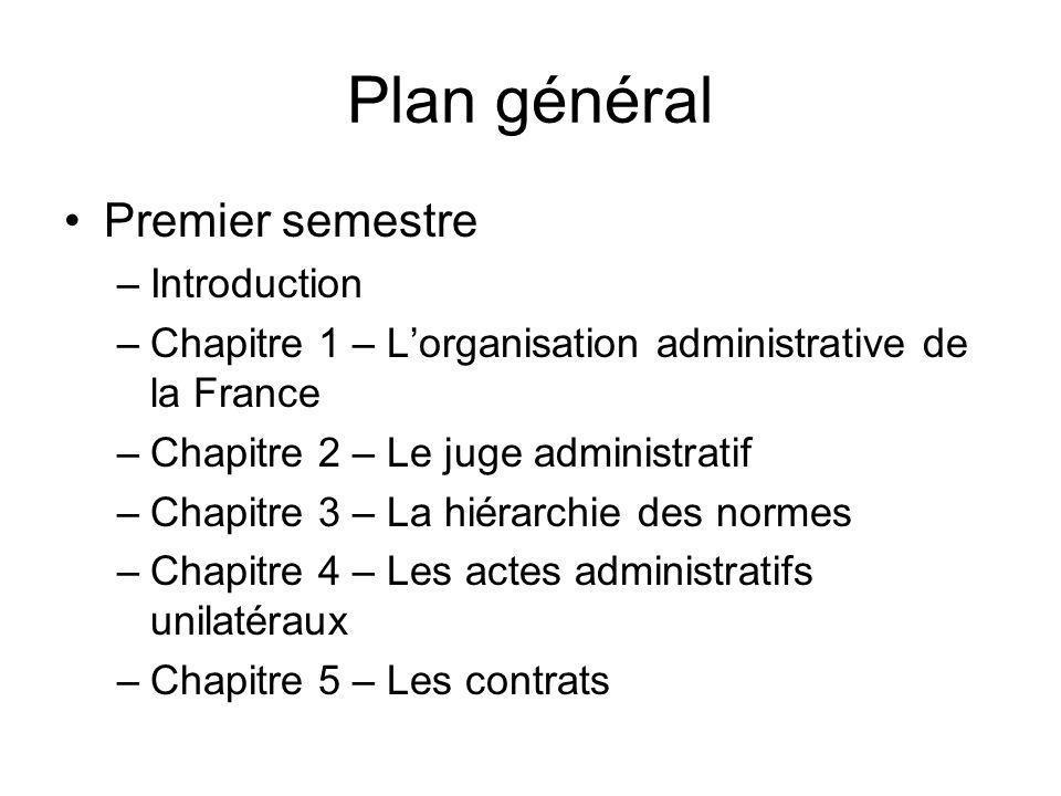 Plan général Premier semestre Introduction