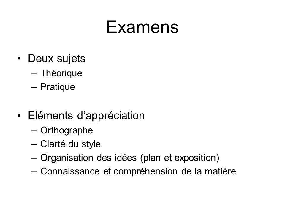 Examens Deux sujets Eléments d'appréciation Théorique Pratique