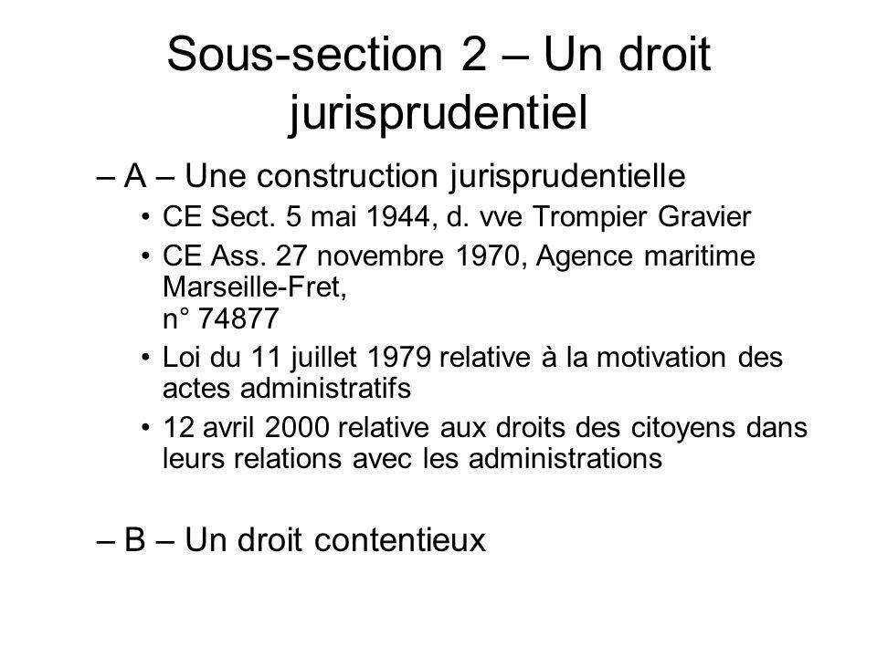 Sous-section 2 – Un droit jurisprudentiel