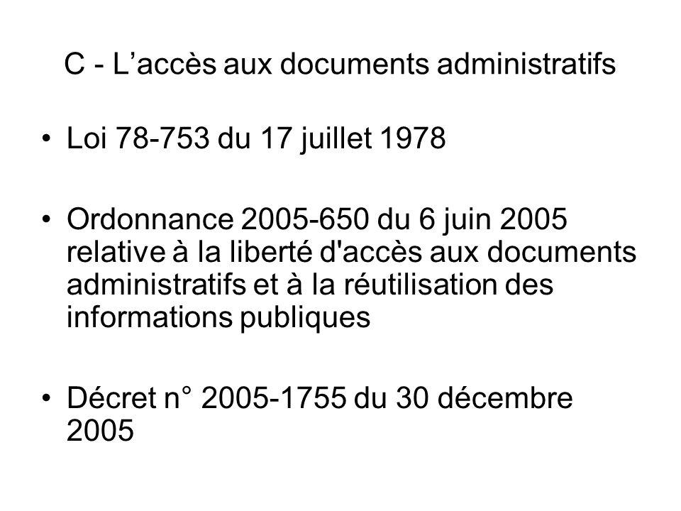 C - L'accès aux documents administratifs