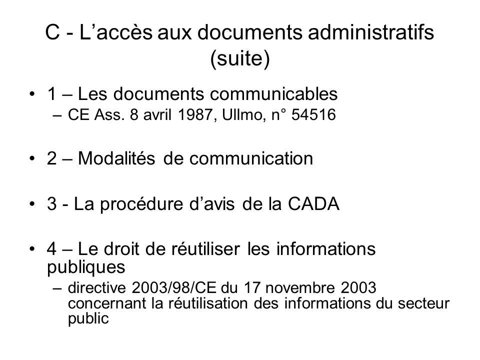 C - L'accès aux documents administratifs (suite)