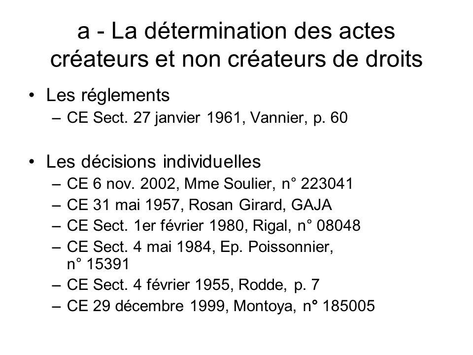 a - La détermination des actes créateurs et non créateurs de droits